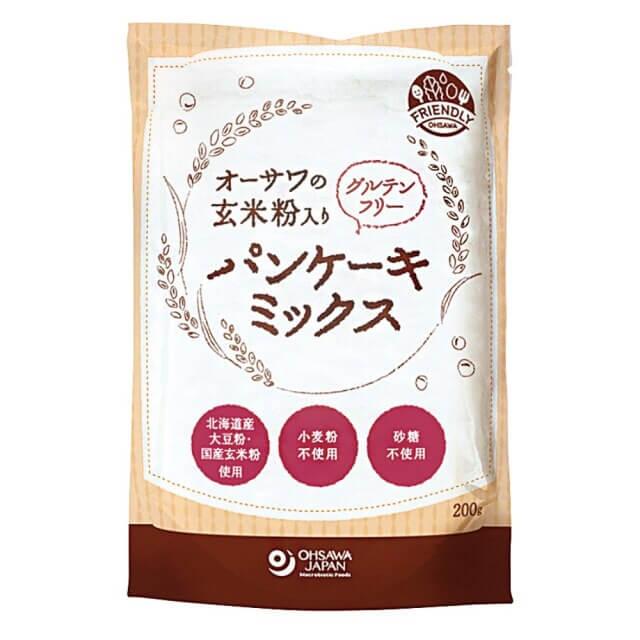 オーサワジャパンの玄米粉入りグルテンフリーパンケーキミックス